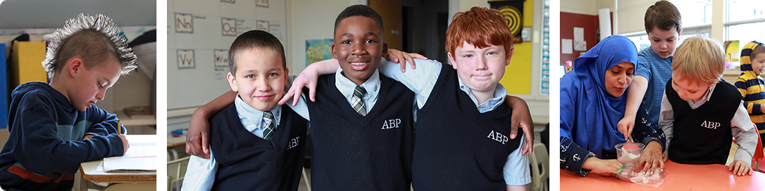 Three male students in uniform with linked arms, from the All Boys Program