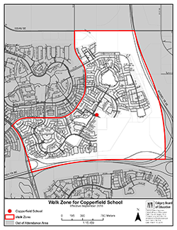 Copperfield School Walk Zone Map